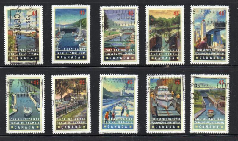 Canada Sc 1725-34 1998 Canals stamp set used