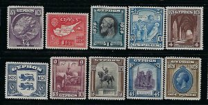 CYPRUS SCOTT #114-123  1928 50th ANNIVERSARY OF CROWN COLONY - MINT  HINGED/LH