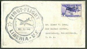 Liberia Overprint 50c On 10c 1941 Issued ~ First Flight 1942 To U.S.