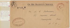TURKS & CAICOS TO USA 1928 OHMS COVER+ LETTERS FROM POSTMASTER, RED PM & OFF CDS