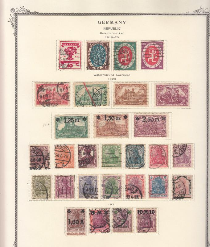 Germany - 1919/1923 Inflation stamp collection on Scott pages