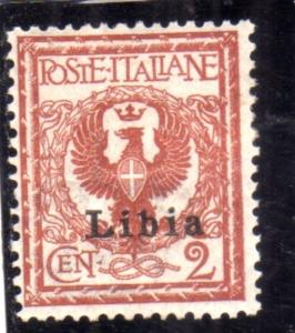 LIBIA 1912 - 1915 SOPRASTAMPATO D'ITALIA ITALY OVERPRINTED CENT. 2 MLH BEN CE...