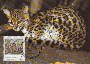 El Salvador 1988 Maxicard Sc #1194a 25c Margay WWF