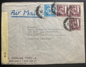 1940 Tel Aviv Palestine Censored Airmail Cover To Lanco Products New York USA