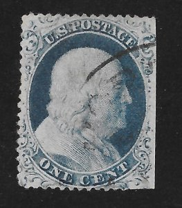 22 Used, 1c. Franklin Type III, scv $475, Free Insured Shipping
