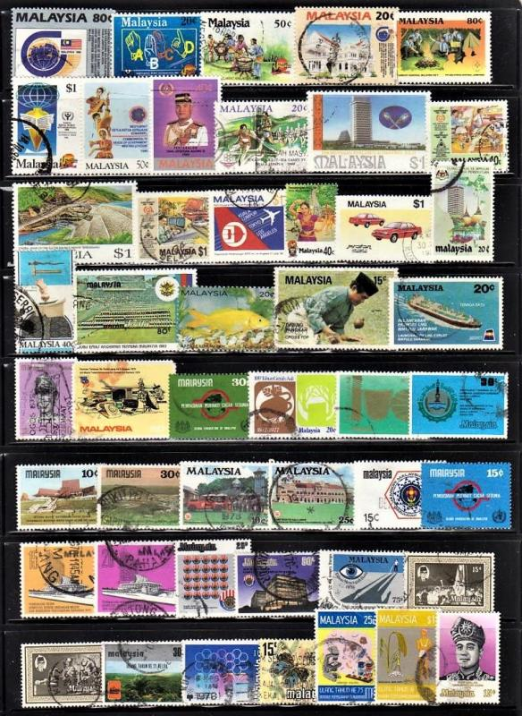 Malaysia small selection used stamps (2 mint). No duplication. All fault free.