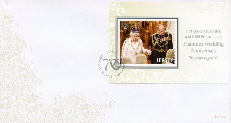 Jersey 2017 FDC Queen Elizabeth II Platinum Wedding 1v M/S Cover Royalty Stamps