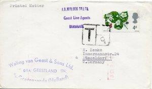 1967 Mv Geestland Housse Allemagne Annulé En Barbades Avec Underpaid Post Tampon