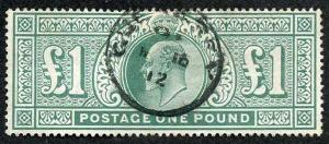 SG266 KEVII One Pound Dull Blue-green Fine Used Cat 825