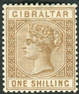 GIBRALTAR-1887 1/- Bistre.  A lightly mounted mint example Sg 14