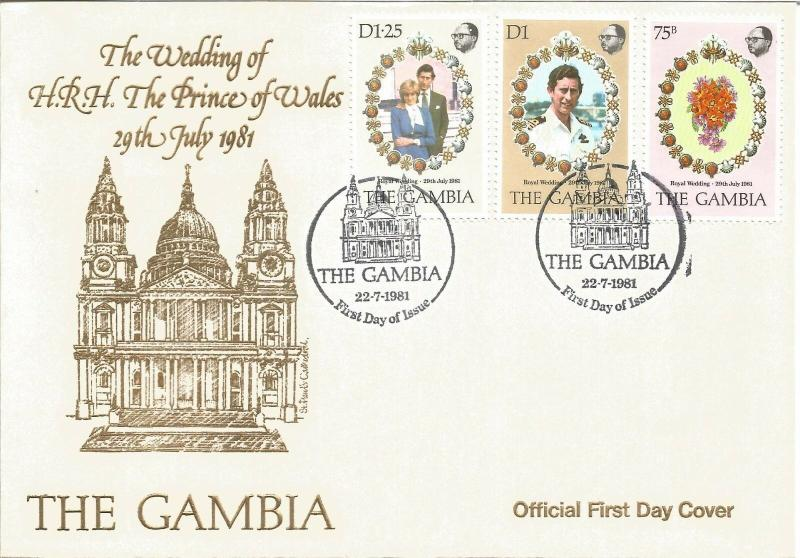 Royal Wedding HRH Prince Of Wales First Day Cover The Gambia 1981 Z6080