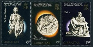 Gibraltar 326-328 blocks/4,MNH.Michel 334-336. Sculptures by Michelangelo,1975.