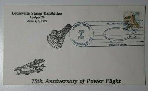 LOUIPEX 75th Anniv Power Flight  Louisville KY 1979 Philatelic Expo Cover