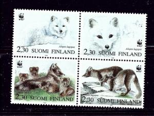 Finland 907 MNH 1993 Arctic Foxes block of 4