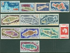 EDW1949SELL : F.S.A.T. 1969-71 Scott #33-45 Complete. Very Fine, MNH. Cat $163.