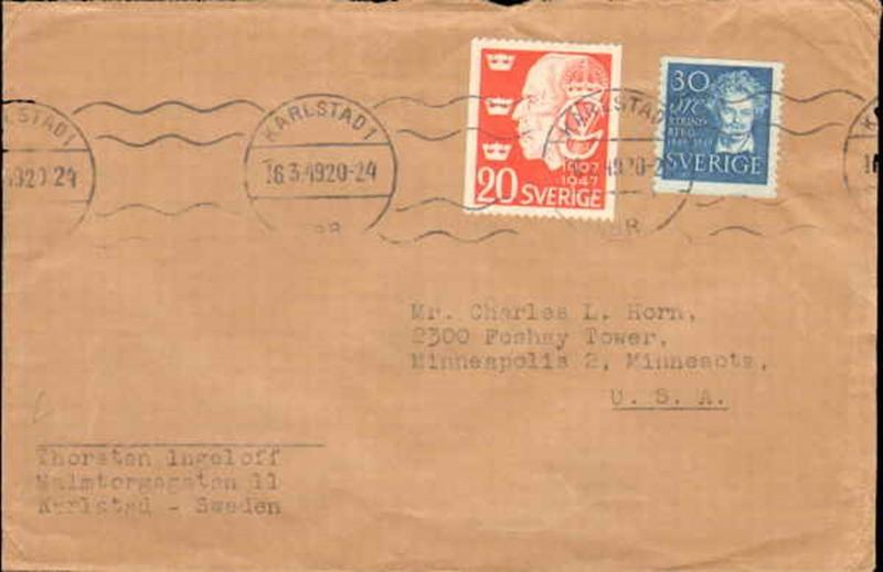 1949 SWEDEN MULTI STAMP TO UNITED STATES