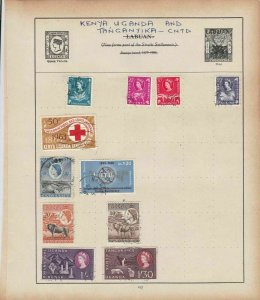 Kenya Uganda and Tanganyika Stamps on Album Page ref R18929