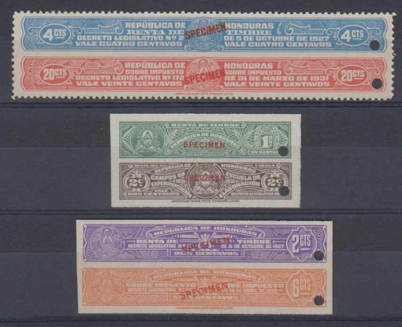 HONDURAS 1927-33 REVENUES TIMBRE 3 BICOLORED PAIRS PERF & IMPERF PROOFS SPECIMEN