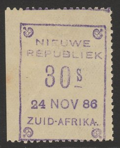 TRANSVAAL - NEW REPUBLIC 1886 (24 Nov) 30s violet on yellow paper imperf at left