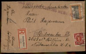 Danzig 1931 Germany Poland Registered Milwaukee WI USA Package Cover 83432