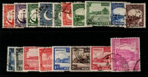 PAKISTAN SG24/41b 1948 DEFINITIVE SET TO 10r USED