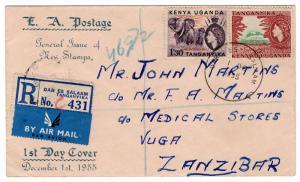 (I.B) KUT Postal : New Issue FDC (1955) Dar Es Salaam - Zanzibar