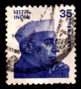 India 35p Jawaharlal Nehru (small portrait) 1980 SG.980, Sc.844 Used (#08)