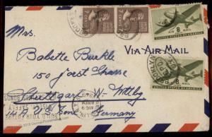 USA 2x 7c Prexie Jackson 1949 Airmail Brooklyn NY Stuttgart Germany Cover 80126