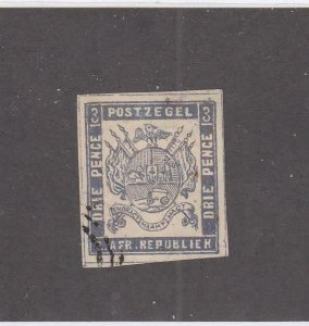 TRANSVAAL (MK6418) # 7 VF-USED IMPERF 3p 1871-74  COAT OF ARMS /LILAC CV $100