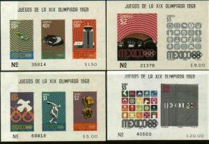 MEXICO 998a, 1000a, C342a, C344a, 1968 Olympics, Souv Sheet SET OF 4. MNH, VF