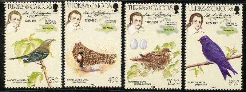 TURKS & CAICOS Sc#651-655 1985 Audubon Birds Complete Set & SS Mint NH