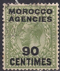 Morocco Agencies 1925 - 34 KGV 90ct on 9d Olive Green used SG 209 ( M1288 )