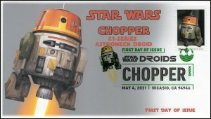 21-104, 2021,Star Wars Droids, C1-1OP, Chopper, First Day Cover, Digital Color