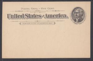US Sc UX12 mint 1894 1c black Jefferson Postal Card, fresh & VF