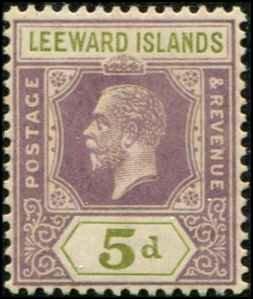 Leeward Islands SC# 74 George V 5d wmk4 MVLH