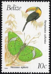 Belize 933a - Mint-NH - 10c Keel-billed Toucan / Olivewing (1993) (cv $2.00)