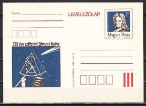 Hungary, 1986 issue. Astronomer Edmund Halley Postal Card.