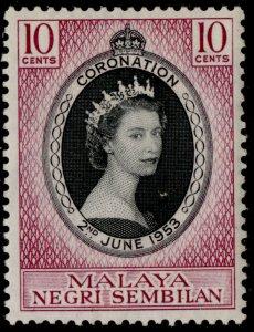 MALAYSIA - Negri Sembilan QEII SG67, 10c 1953 CORONATION, M MINT.