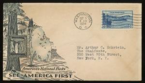 #742 FDC 1934 MOUNT RANIER  3 cent ~ Longmire WA
