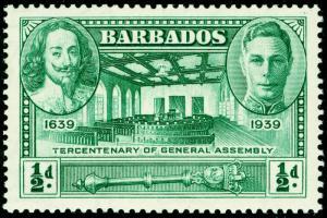 BARBADOS SG257, ½d green, NH MINT.