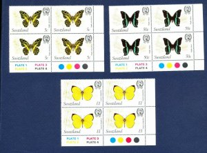 SWAZILAND  - # 399, 400, 401 - VFMNH blocks - Butterfly, insect topical -1982