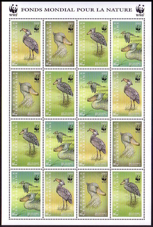 Central African Rep. WWF Shoebill Sheetlet of 4 sets SC#1239 a-d MI#2211-14