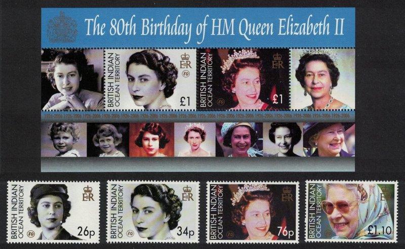 BIOT 80th Birthday of HM Queen Elizabeth II 4v+MS 2006 MNH SG#348-MS352