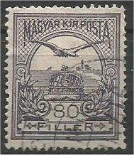 """HUNGARY, 1916, used 80f, """"Turul"""" Scott 100"""