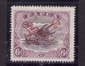 Papua New Guinea-Sc#C3-unused hinged 6p violet & dull vio airmail-Ships-Planes-1