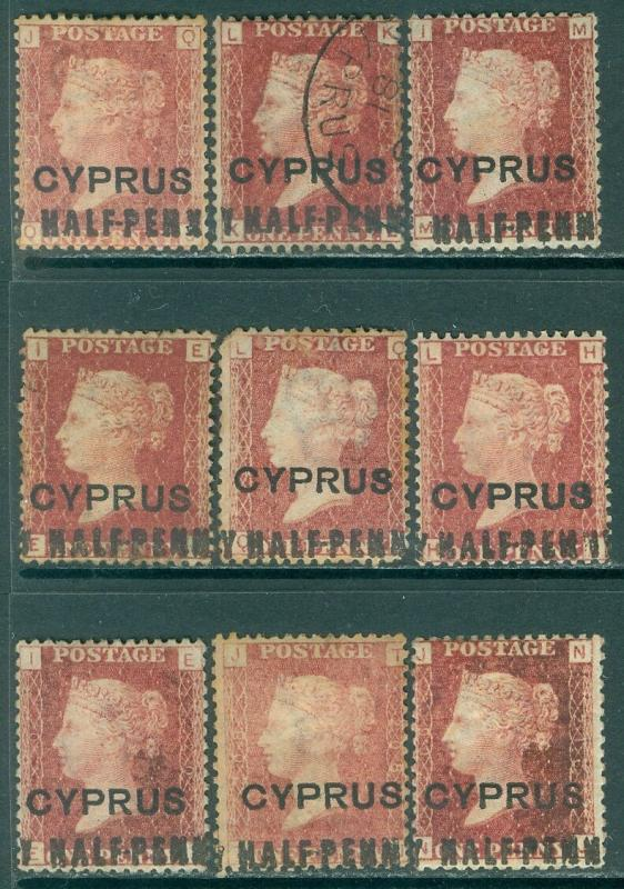 CYPRUS : 1881. Stanley Gibbons #7 Great Specialized lot of 9 stamps w/ HALF-PENN
