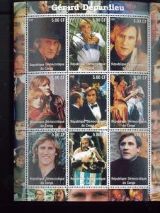 Gerard Depardieu Hollywood Star Commemorative Souvenir Stamp Sheet Congo E56