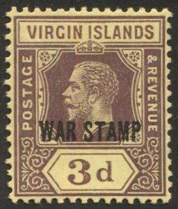 VIRGIN ISLANDS  Sc MR2  3d KGV  WAR TAX MNH  VF