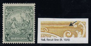 Barbados, SG 248a, MLH Recut Line variety