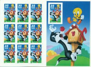 US: 1998 SYLVESTER & TWEETY; Complete Sheet OF 10 Sc 3205; 32 Cents Values